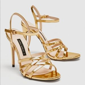 3766cfc376f6 Gold strappy heels